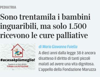 """Featured image for """"Trentamila bambini inguaribili ma solo 1.500 ricevono le cure palliative"""""""