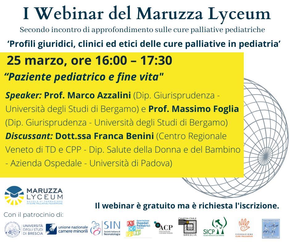 """Featured image for """"25 marzo – Webinar """"Paziente pediatrico e fine vita"""""""""""